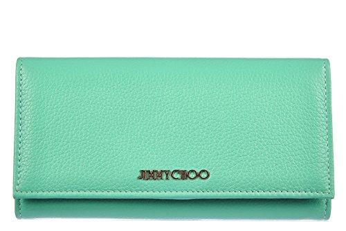 Jimmy Choo women's wallet leather coin case holder purse card bifold peppermint green