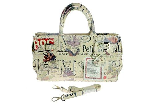 MASSIMO TRULLI Limited Edition Artistic Italian Leather Satchel Tote Handbag-BEIGE/MULTI