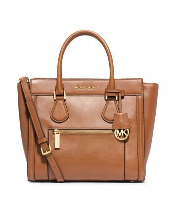 MICHAEL Michael Kors Colette Zip Leather Large Satchel Handbag Purse Peanut
