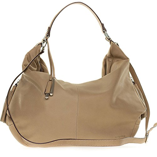 Cromia Italian Made Beige Leather Large Slouchy Hobo Bag with Side Zippers