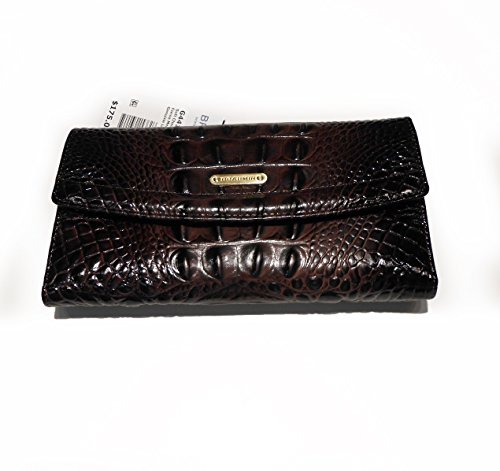 Brahmin Soft Checkbook Cocoa Melbourne Brown Leather Billfold Wallet