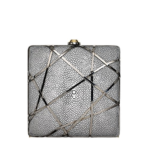 Reed Krakoff Minaudiere Evening Bag Shagree Leather Chain Strap Clutch Crossbody Shoulder Bag