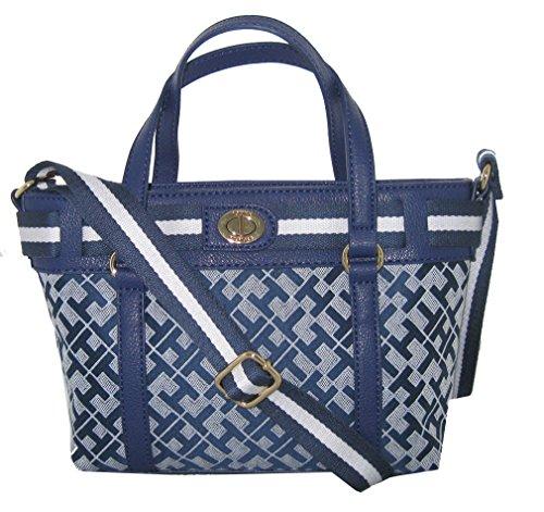 Tommy Hilfiger Canvas Crossbody Bag Small Tote Handbag Purse Navy Blue