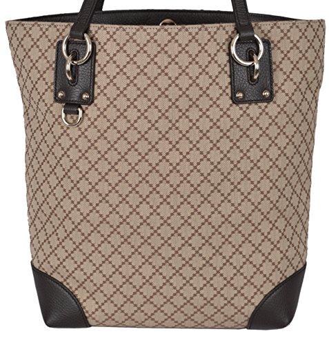 Gucci Women's Brown Jacquard Diamante Tote Purse