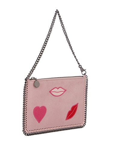 Stella Mccartney Heart & Lips Applique Falabella Shaggy Pink Clutch