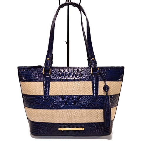Brahmin Medium Asher Navy Raffia Vineyard L15624NV