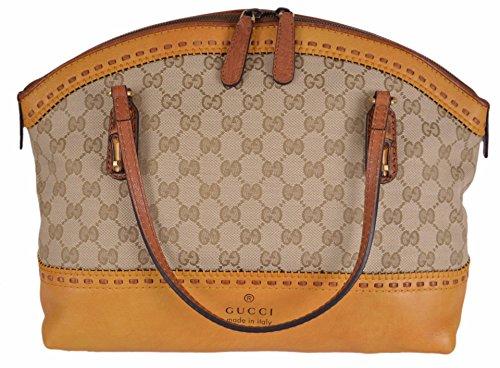 Gucci Women's Yellow Laidback Crafty GG Guccissima Bamboo Dome Handbag