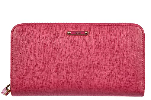 Fendi women's wallet leather coin case holder purse card bifold elite fucsia