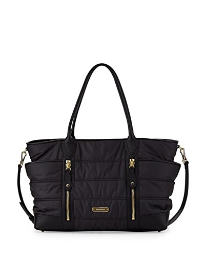 Burberry Diaper Bag Baby's Quilted Nylon Black with Changing Pad