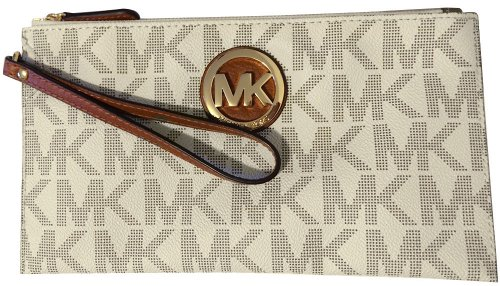 Michael Kors Signature Fulton Large Top Zip Clutch / Wristlet – Vanilla PVC