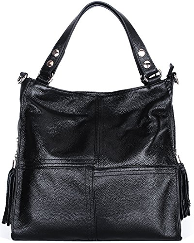 Heshe® Fashion New Women Genuine Leather Shoulder Handbag Hobo Cross Body Tote Top-handle Purse Messenger Bag Simple Style Satchel with Tassels