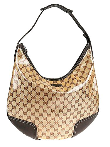 Gucci Crystal Collection Hobo Shoulder Bag in Brown Leather Trim