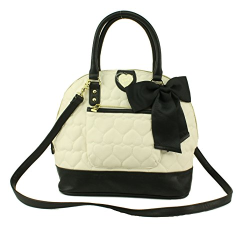 Betsey Johnson Be Mine Pcket Dome Satchel Shoulder Handbag, Bone Black