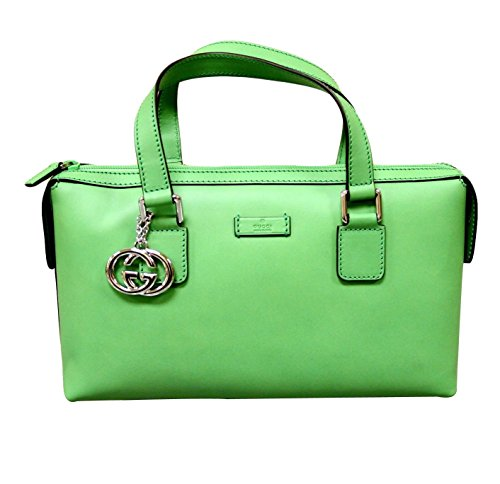 Gucci Bright Green Top Handle Handbag Boston Bag Bowling Bag 264210