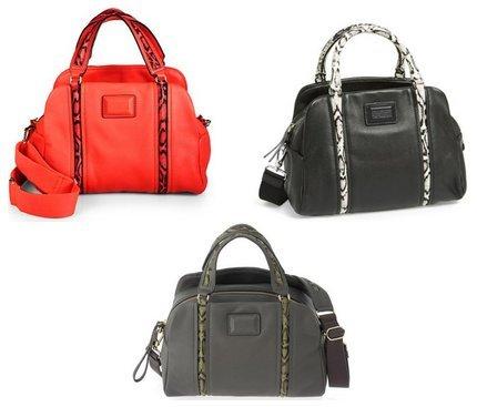 Marc Jacobs Q Snake Satchel Leather Faded Aluminum Grey Multi Bag