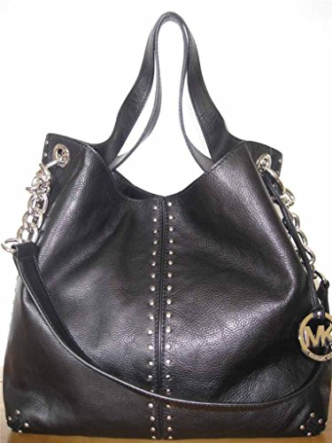 Michael Kors Black Leather Uptown Astor Large Satchel Tote Handbag with Gold Hardware