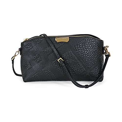 Burberry Small Embossed Check Leather Clutch Bag – Black
