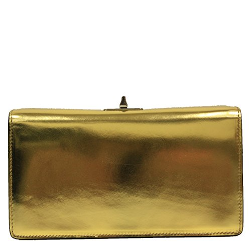 Prada Shiny Metallic Gold Leather Evening Clutch Bag