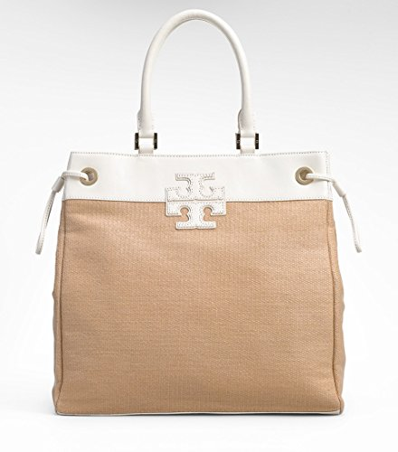 Tory Burch Straw Stacked T logo NS Tote in Natural/Bleach