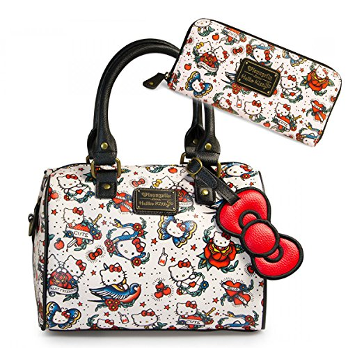 Hello Kitty Tattoo Flash Pebble Crossbody Duffle Purse & Wallet Set Loungefly