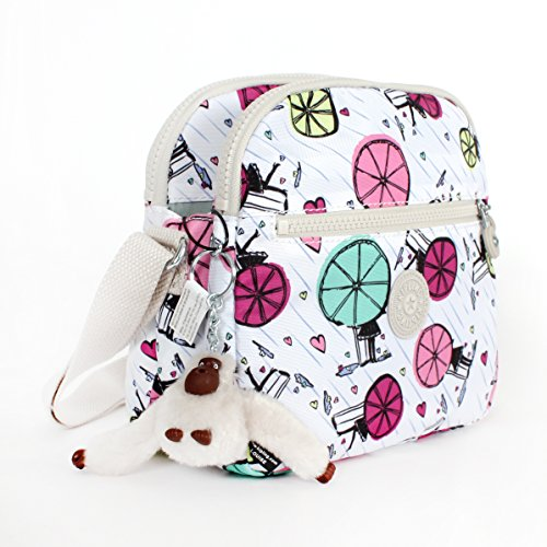 Kipling Keefe Print Shoulder Bag Crossbody Happy Showers