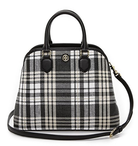 Tory Burch Robinson Plaid Large Open Dome Satchel