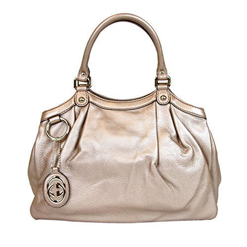 Gucci Metallic Antique Rose Medium Sukey Leather Handbag 211944 2729