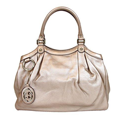 Gucci Metallic Antique Rose Medium Sukey Leather Handbag 211944 2729