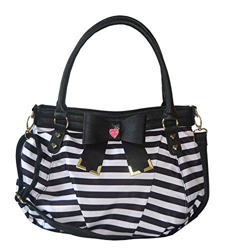 Betsey Johnson Purse Bow Tied Stripe Satchel Handbag Bag Purse