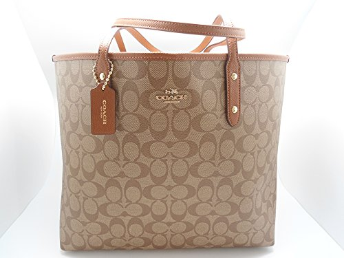 Coach Signature City Tote Shoulder Handbag Khaki/saddle 36126