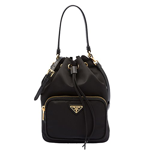 Prada Tessuto Nero Black Nylon and Saffiano Leather Drawstring Mini Bucket Crossbody Shoulder Bag