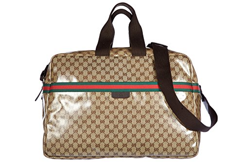 Gucci travel duffle weekend shoulder bag crystal gg dollar beige