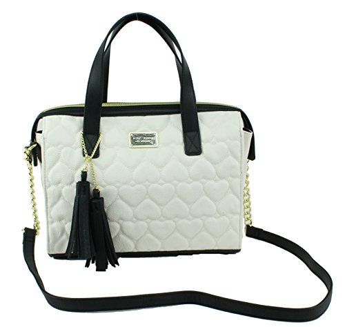 Betsey Johnson Boxed Be Mine Satchel Shoulder Bag, Bone Black