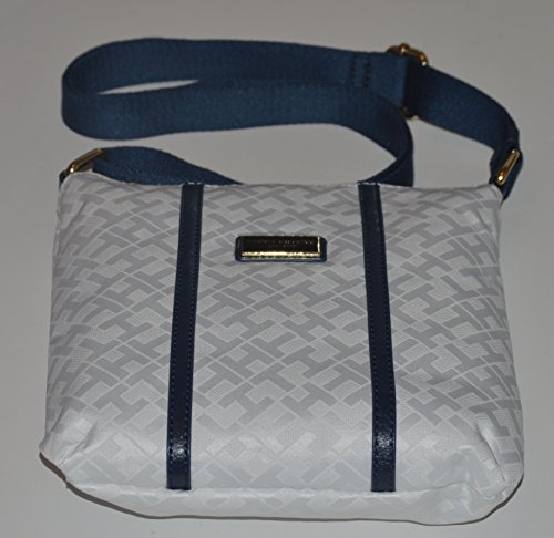 Tommy Hilfiger Women's White Blue Monogram Crossbody Leather Canvas