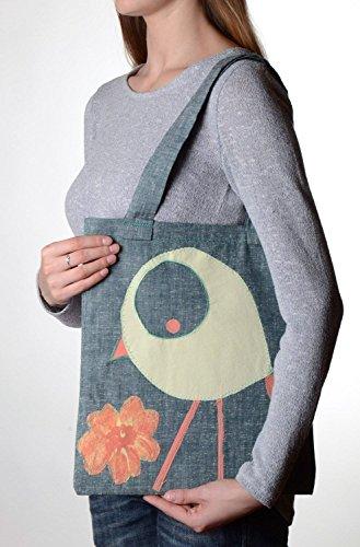 Gray handmade big designer shoulder bag for women made of fabric with applique