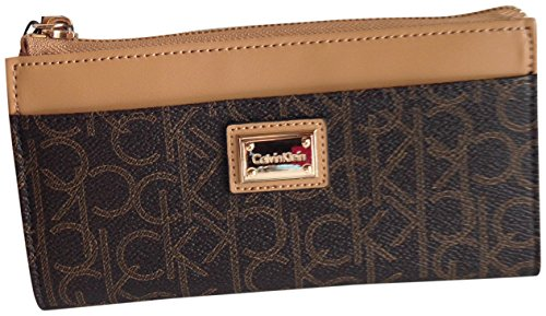 Calvin Klein Monogram Leather Top Zip Wallet Brown Khaki Camel