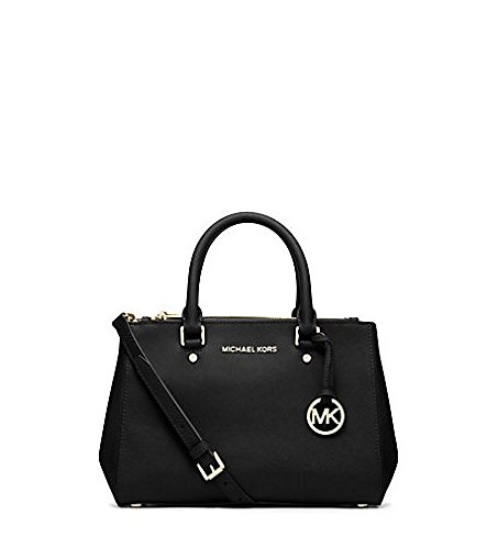 Michael Kors Sutton Small Saffiano Leather Satchel in BLACK