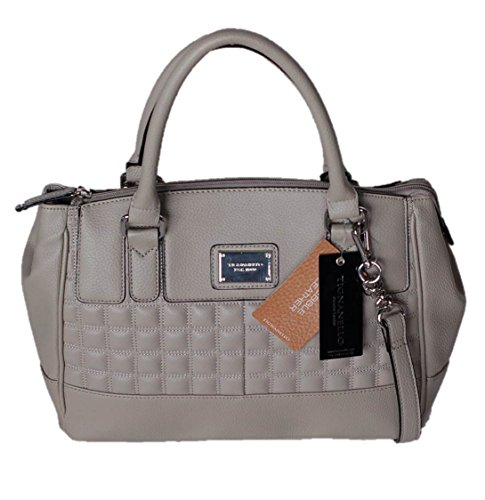 Tignanello Lady Q Leather Satchel Purse Shoulder Bag Dove Gray Handbag