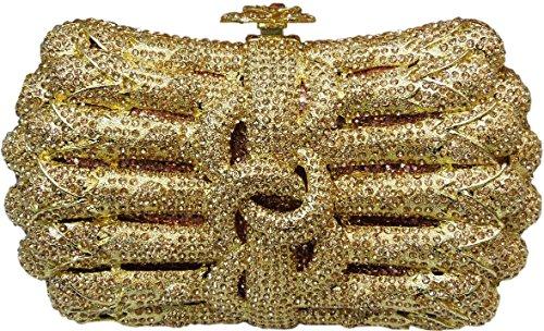 YoursFashion Luxury Crystal Beautiful Bowknot TILE Evening Handbags Wedding Clutch