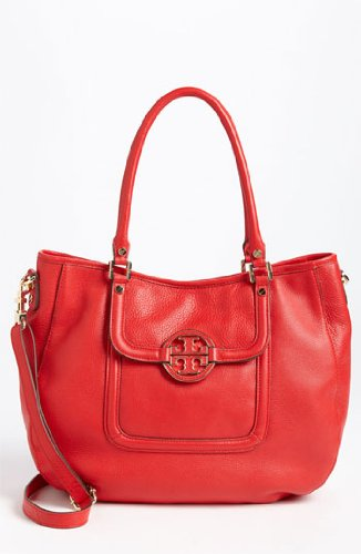 Tory Burch Amanda Double Handle Classic Leather Convertible Hobo Lobster