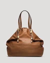 Michael Kors Miranda Zips Womens Luggage Tan Purse Leather Tote