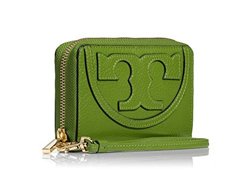 Tory Burch All T Zip Around Smartphone Wristlet in Leaf Green Pebbled Leather