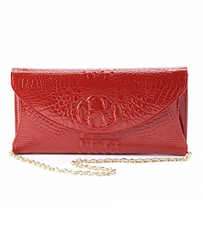 Mllecoco 3286 Real Leather Metal Chain Crocodile Texture Crossbody Clutch Handbag