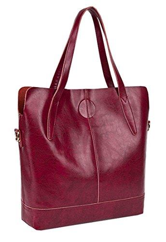Heshe New Lady's Genuine Leather Wax Cowhide Simple Style Vinatge Lash Package Top Handle Tote Shoulder Crossbody Bag Purse Women's Handbag