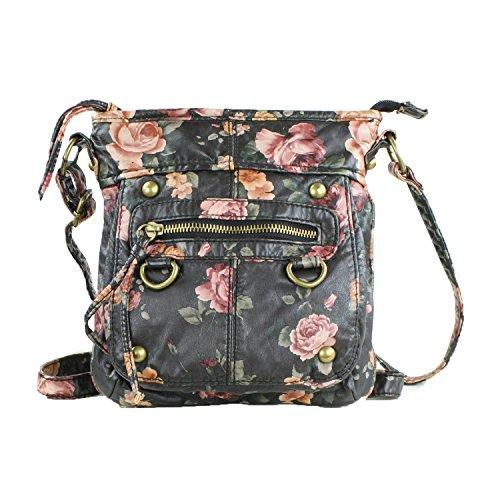 Hipster Vintage Rose Crossbody Bag Purse w/ Blush Roses – Black Vegan Leather