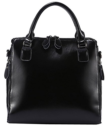 Heshe® Women's New Fashion Genuine Leather Tote Handle Bag Cross-body Handbag Shoulder Bag Top Handle Handbag Personality Charm Simple Style for Ladies