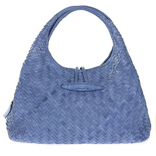 Paolo Masi Italian Made Periwinkle Blue Hand Woven Leather Purse Handbag