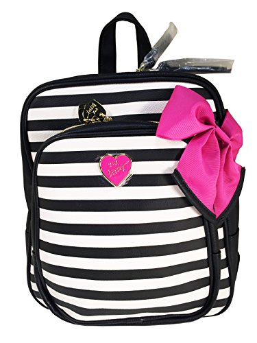 "Betsey Johnson Black & Bone Stripe ""Be Mine"" Medium Backpack"