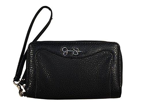 Jessica Simpson Wristlet Zip Around Wallet Purse Hand Bag Black Silver Lina