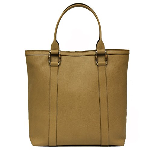 Gucci Bamboo Top Handle Large Tan Leather Tote Bag